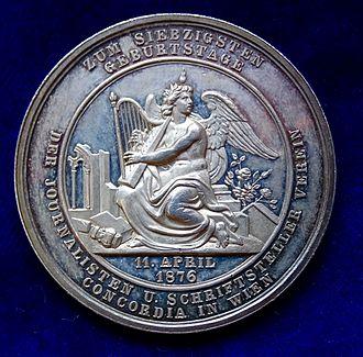 Count Anton Alexander von Auersperg - Concordia commemorative medal for Auersperg's 70th birthday 1876 in Vienna. Medallist Carl Radnitzky. (Reverse)
