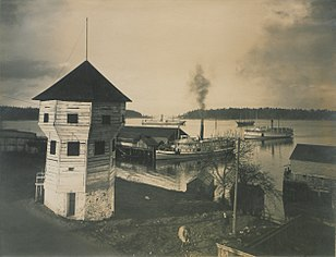 View of Nanaimo Harbor showing the bastion and shipping (HS85-10-18676).jpg