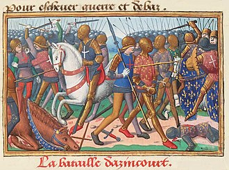 Battle of Agincourt - Miniature from Vigiles du roi Charles VII. The battle of Azincourt 1415.