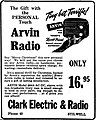 Vintage Newspaper Advertising For The Arvin Model 444A Table Radio, The Stilwell Oklahoma Democrat Journal, December 11, 1947 (19868609448).jpg