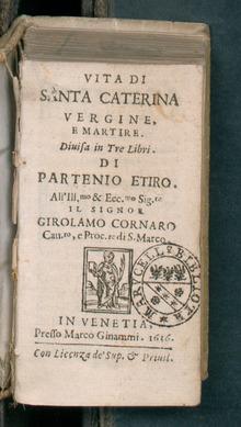 Vita di santa Caterina vergine e martire, 1636. Da BEIC, biblioteca digitale