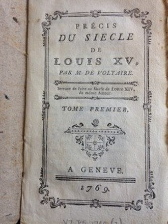 Précis du siècle de Louis XV - Title page of a first edition, from the collection of the Voltaire Foundation in Oxford