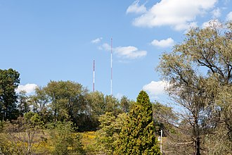 WXJX (AM) - The two-antenna directional array, seen from Kings Road, looking north
