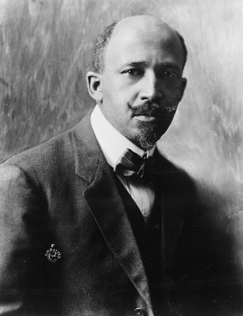 Formal photograph of W. E. B. Du Bois, with beard and mustache, around 50 years old