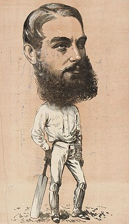 "An 1873 caricature of W. G. Grace. In his obituaries, Wills was referred to as ""the Grace of Australia"". WG Grace 1873.jpg"