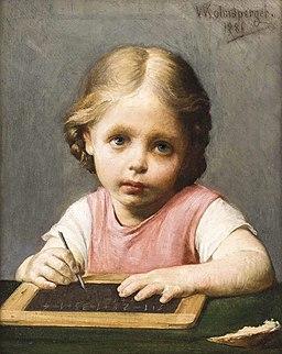 Waldemar Kolmsperger dÄ Tochter Wetti bei Hausaufgabe 1880