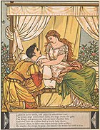 """""""He stands—he stoops to gaze—he kneels—he wakes her with a kiss"""", woodcut by Walter Crane"""