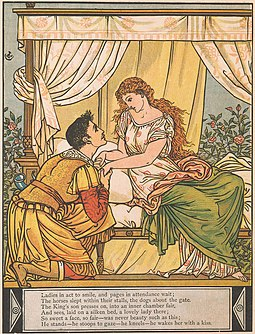 He stands--he stoops to gaze--he kneels--he wakes her with a kiss, woodcut by Walter Crane Walter Crane12.jpg