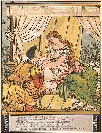"Histoires ou contes du temps passé - ""Sleeping Beauty"", depicted here by Walter Crane in a late 19th-century illustration, was based on similar stories written by medieval authors such as  Basile."