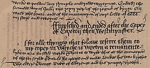 Warkworth's Chronicle - End of Caxton's Brut Chronicle and the beginning of Warkworth's Chronicle: As for alle thynges that folowe, referre them to my copey, in whyche is wretyn a remanente lyke to this forseyd werke : that is to wytt, that, at the coronacyone of the forseyde Edwarde, he create and make dukes his two brythir, the eldere George Duke of Clarence, and his yongere brothir. (Cambridge Peterhouse MS 190 f 214v)