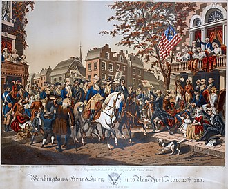 Evacuation Day (New York) - Washington's Grand Entry into New York, November 25, 1783 by Alphonse Bigot