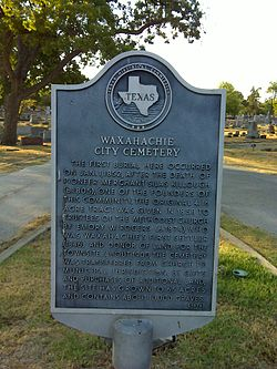 Waxahachie city cemetery marker