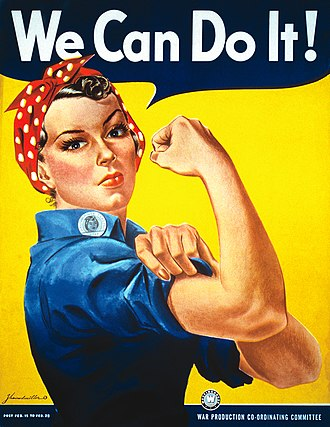"Canadian women in the World Wars - The munitions industry heavily recruited women workers, as represented by the U.S. government's ""Rosie the Riveter"" propaganda campaign."
