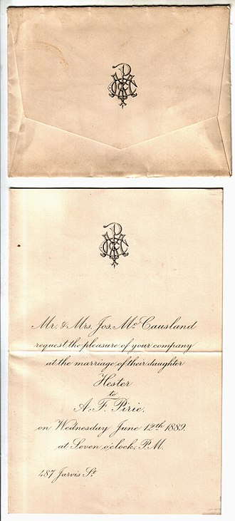 Alexander Fraser Pirie - Image: Wedding Invitation Pirie Mc Causland June 12 1889 Toronto