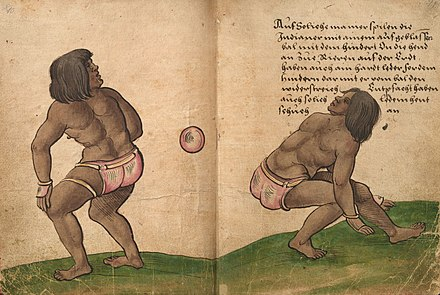 Aztec ullamaliztli players performing for Charles V in Spain, drawn by Christoph Weiditz in 1528. Weiditz Trachtenbuch 010-011.jpg