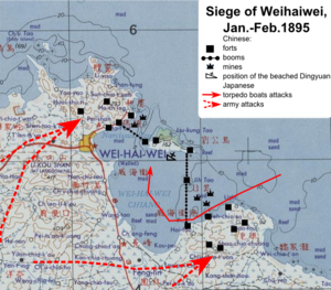 Battle of Weihaiwei - Map of operations against Weihaiwei