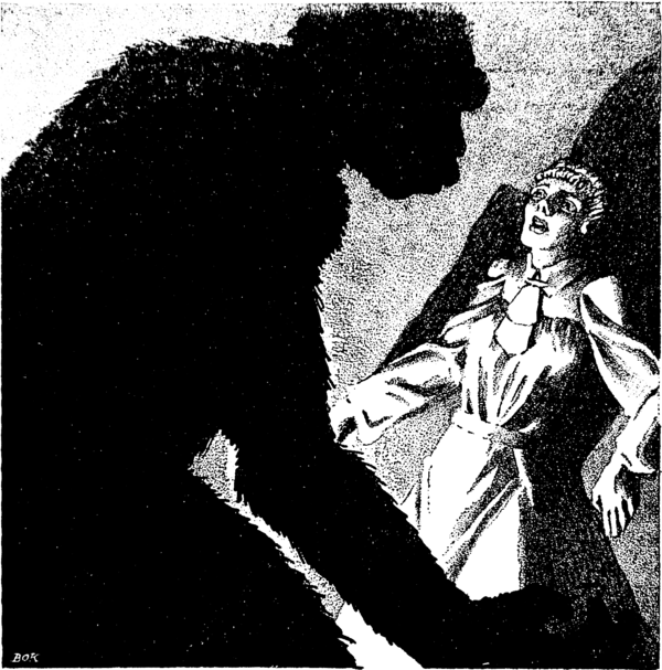 The silhouette of an ape looms overa frightened woman.
