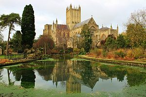 Wells Cathedral - From the gardens of the Bishop's Palace (December 2013)