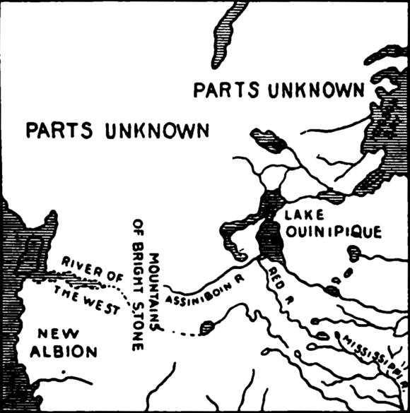 Carver's map from 1778, showing the River of the West, New Albion, Lake Winnipeg, and the Mountains of Bright Stone Western North America 1778.png