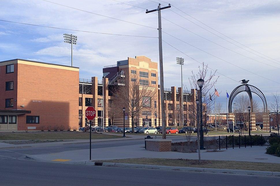 White Hall and Roger Harring Stadium at Veterans Memorial Field
