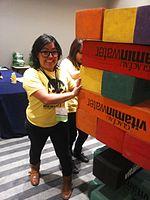 Wikimania 2015-Wednesday-Volunteers play Weasel-Jenga (22).jpg
