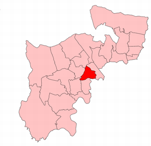 Willesden West (UK Parliament constituency) - Willesden West constituency within the parliamentary county of Middlesex, showing boundaries used from 1945-50.