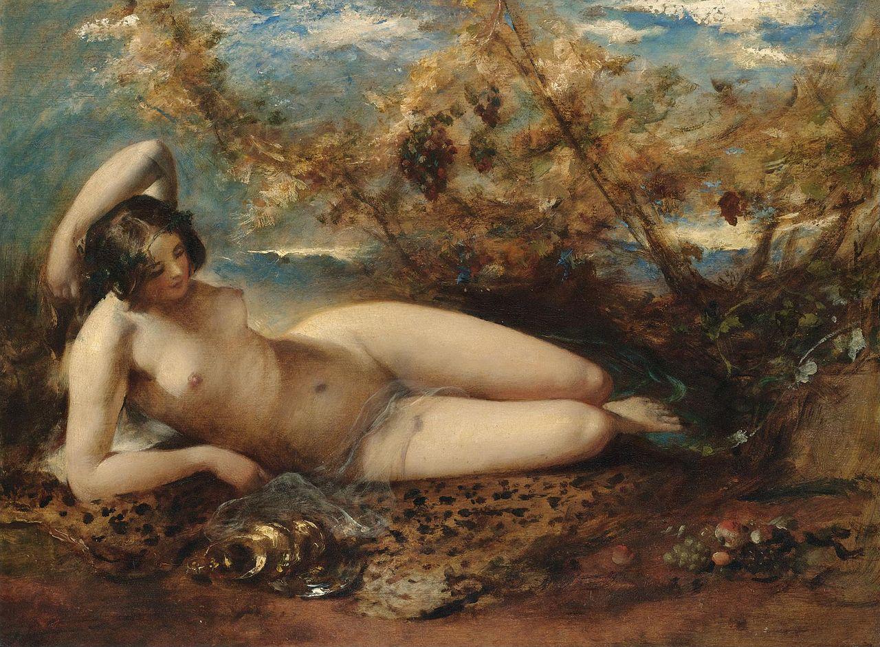 Уильям Этти - молодые женщины, лежащие на меху rug.jpg