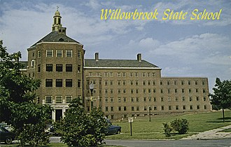 Willowbrook State School - A postcard of the school, picturing the Administration building.