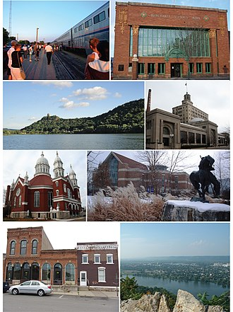Winona, Minnesota - Clockwise from top-left: the Empire Builder at Winona station, Merchants National Bank, Sugar Loaf, Watkins Incorporated, Basilica of St. Stanislaus, Krueger Library, East Second Street Historic Commercial District, and Garvin Heights City Park.