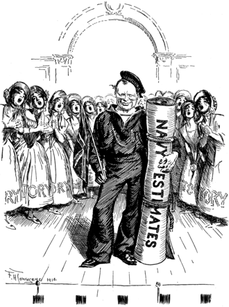 F. H. Townsend - F. H. Townsend cartoon from Punch, 14 January 1914, depicting Winston Churchill