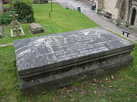 The grave of writer Mary Shelley and her parents including Mary Wollstonecraft in St. Peter's Church, Bournemouth. Wollstonecraft Shelley Grave 1.jpg
