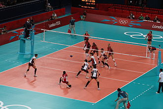 Volleyball at the Summer Olympics - Women's volleyball semifinals match between USA and South Korea at the 2012 Summer Olympics.