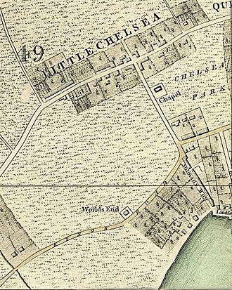 World's End, Kensington and Chelsea - World's End, Chelsea, London. From Cary's New And Accurate Plan Of London And Westminster