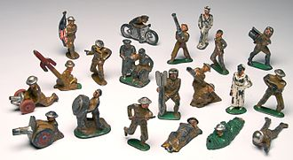 Barclay Manufacturing Company - Barclay lead toy soldiers and figures, including motorcycle, canons and mortars.