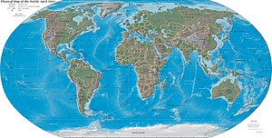 Geography - Physical map of Earth with political borders as of 2004