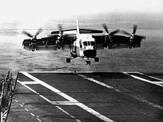 LTV XC-142 - Image: XC 142 landing on USS Bennington (CVS 20) 1966