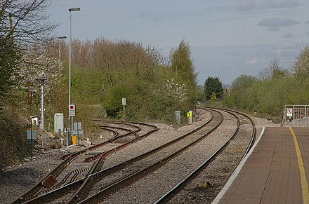 The branch departs from the main line at Yate. Yate railway station MMB 10.jpg