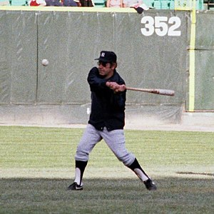 Yogi Berra - Berra hitting with a fungo bat prior to a game in 1981.