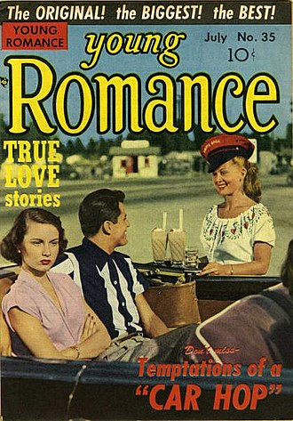 Romance comics - Many romance comics covers sported photographs rather than painted or line drawn art. Such covers lent the illusion of verisimilitude to the contents (Young Romance, July 1954).