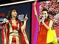 Yua Mikami and IGS hostess on Taiwan Pavilion stage 20180127c.jpg