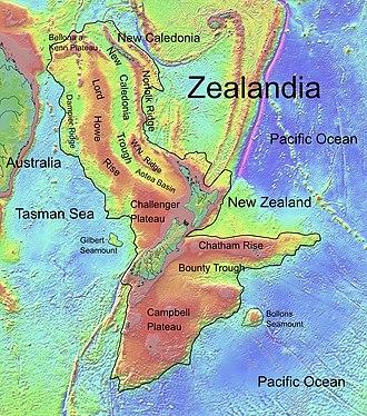 Zealandia - Topographic map of Zealandia