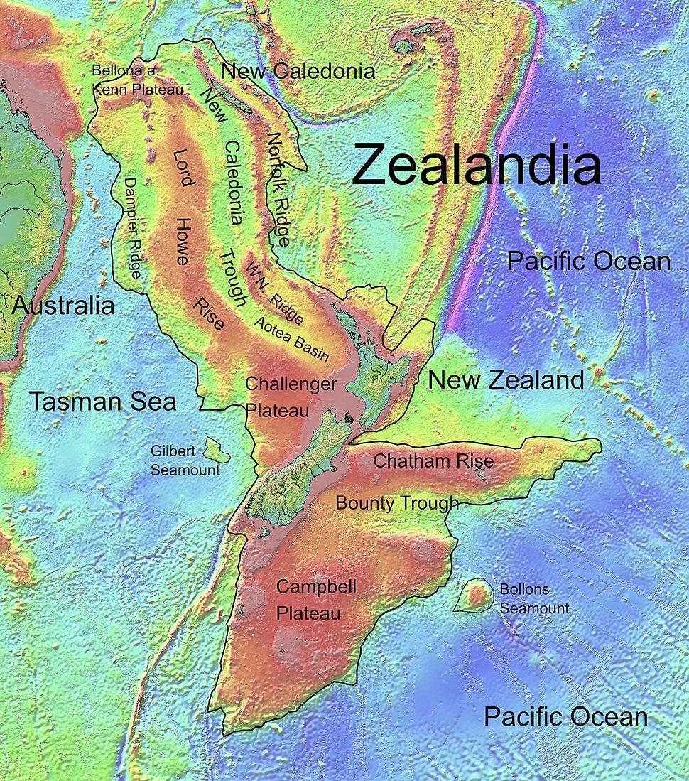 Zealandia, topographic map