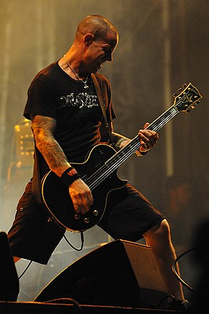 Bleeding Through - Dave Nassie performing live in Bonn in 2009.