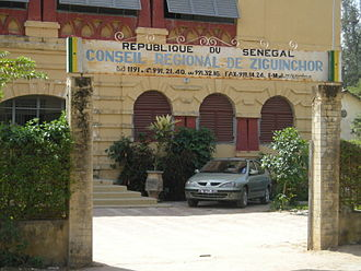 Regions of Senegal - The Conseil Régional building in Ziguinchor. Regions, unlike Departments or Arrondissements (but like Communes), have defined administrative and political power in Senegal.