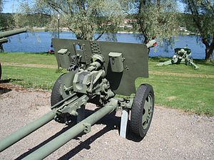 76 mm divisional gun M1942 (ZiS-3) - ZiS-3 displayed in Hämeenlinna Artillery Museum.