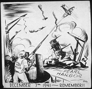 Doris Miller - Illustration of Miller defending the fleet at Pearl Harbor (Charles Alston, Office of War Information and Public Relations)