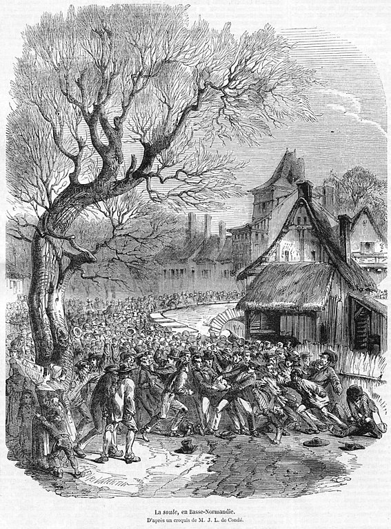 an 1852 illustration of a la soule match - History of Football (American)