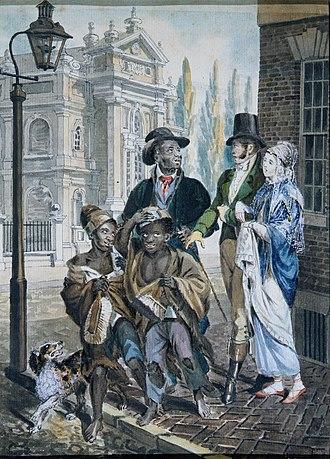 "John Lewis Krimmel - Image: ""Worldly Folk"" Questioning Chimney Sweeps and Their Master before Christ Church, Philadelphia MET ap 42.95.15"