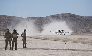 22nd Special Tactics Squadron - 22nd STS personnel watch an A-10 Thunderbolt II depart from the National Training Center