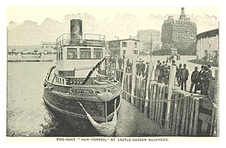 Fireboats of New York City - Image: (King 1893NYC) pg 545 FIRE BOAT 'NEW YORKER' AT CASTLE GARDEN BULKHEAD